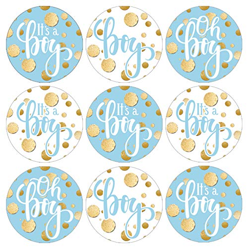 - Blue and Gold It's a Boy Baby Shower Favor Labels | 180 Stickers