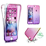 Cistor Huawei P Smart Crystal Case,Luxury Pink + Purple Transparent 360 Degree Full Body Protective Case for Huawei P Smart,Anti-Scratch Ultra Thin Soft Silicone TPU Case with Ring Holder