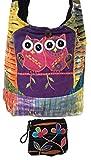 Boho Cross Body Cotton Sling Patchwork Shoulder Bag & Coin / Money Purse Bundle Handcrafted Nepal – Owls & Flowers Design Multi-Color Tie Dye Stonewashed