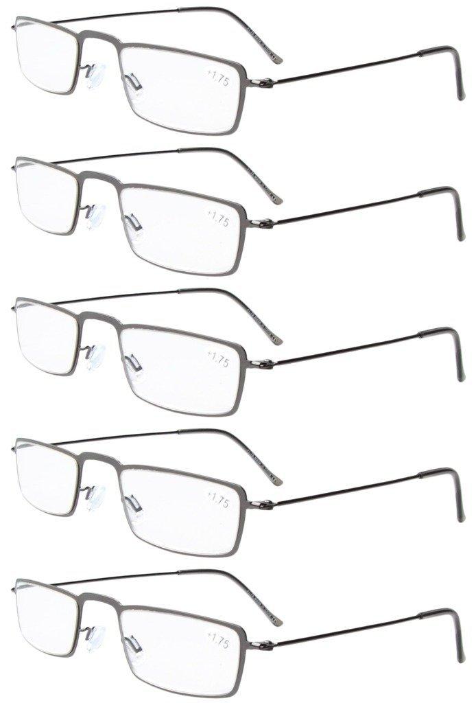 2.0 Eyekepper 5-Pack rostfrei Staal Frame Halb-Augen Stil Lesebrille Leser