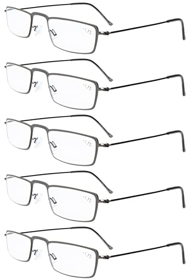 ff3b28d295 Image Unavailable. Image not available for. Color  Eyekepper 5-Pack  Stainless Steel Frame Half-eye Style Reading Glasses ...