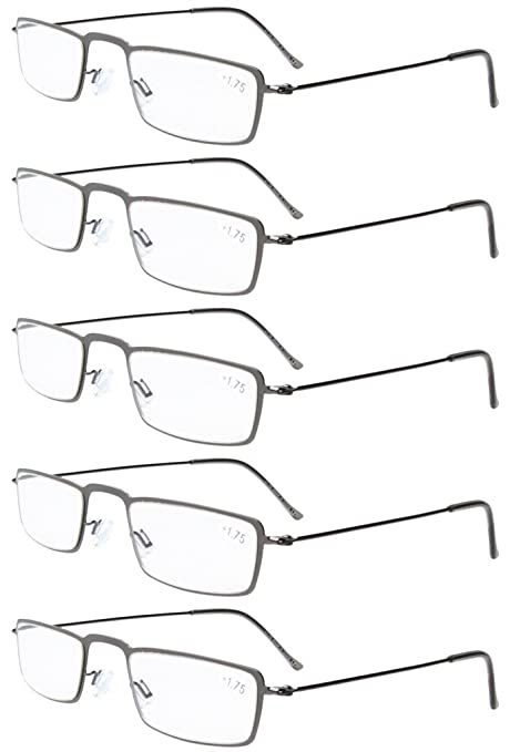 6ffca176610 Eyekepper 5-Pack Stainless Steel Frame Half-eye Style Reading Glasses  Readers Gunmetal +1.5  Amazon.in  Health   Personal Care