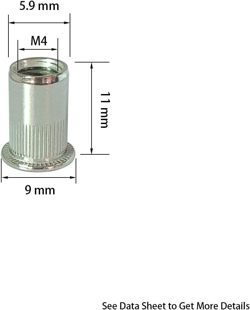 304 M4 M5 M6 M8 M10 t/ête plate avec rayures verticales avec fiche technique 50 pi/èces /écrou /à sertir en Inox