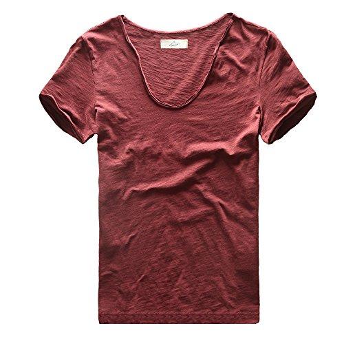 Zecmos Men's V Neck Slim Fit 100 Cotton T Shirts Color Wine Red Size (Cotton V-neck Rugby)