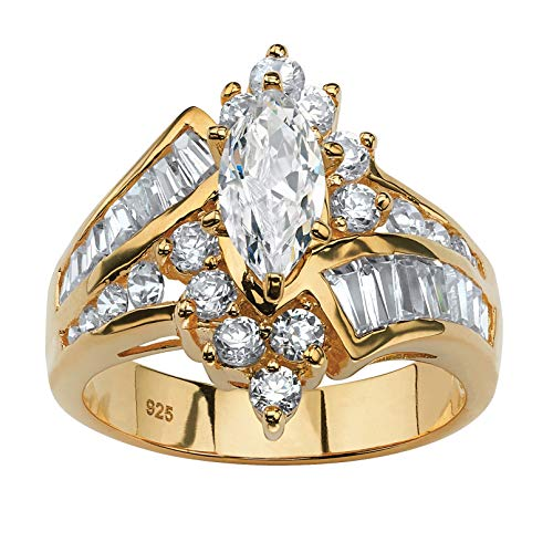 (18K Yellow Gold over Sterling Silver Marquise Shaped Cubic Zirconia Engagement Ring Size 8)