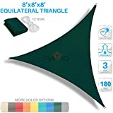 Patio Paradise 8' x 8' x 8' Green Sun Shade Sail Equilateral Triangle Canopy - Permeable UV Block Fabric Durable Outdoor - Customized Available