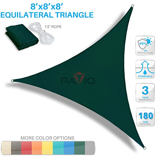 Patio Paradise 8' x 8' x 8' Green Sun Shade Sail Equilateral Triangle Canopy - Permeable UV Block Fabric Durable Outdoor - Customized Available by Patio Paradise