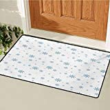 Winter Welcome Door mat Cold December Design Simple Seasonal Snowy Weather Ice Frost Gentle Winter Icons Door mat is odorless and Durable W31.5 x L47.2 Inch Blue White