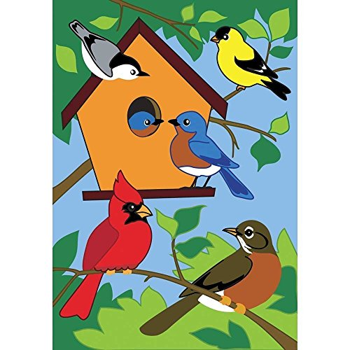 Raininc's Birds of a Feather Tree Birdhouse 18 x 13 Rectangular Double Applique Small Garden -