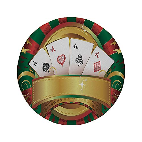 Non-Slip Rubber Round Mouse Pad,Poker Tournament,Gambling Fortune Wealth Playing Cards Hand Casino Roulette Winning Print ()