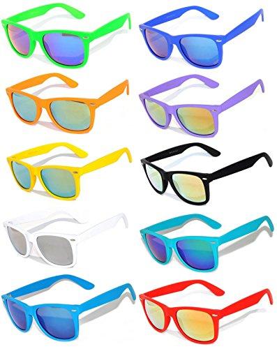 10 Ten Classic Vintage Full Mirror Lens Sunglasses Colored Frame Matte Retro (10pairs, Mirror) (Wholesale Plastic Sunglasses)