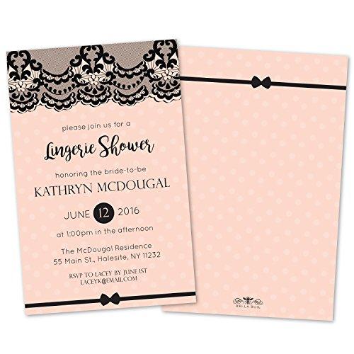 Black Lace Lingerie Shower Invitations (Set of 10) (Lingerie Shower Invitation)