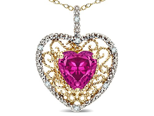 Star K Heart Shape 8mm Simulated Pink Tourmaline filigree Heart Pendant Necklace 10k Yellow Gold