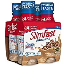 SlimFast Original - Weight Loss Meal Replacement RTD Shakes - With 10g Of Protein & 5g Of Fiber - Plus 24 Vitamins and Minerals per serving - Cappuccino Delight, 4 Count