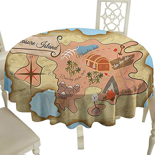 cobeDecor Square Polyester Tablecloth Island Map Ancient Treasure Map of Tropical Beach with Chest Key Mystical World Theme D60 Cream Pink Blue