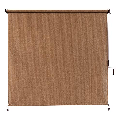 Coolaroo Exterior Roller Shade, Cordless Roller Shade with 95% UV Protection, No Valance, (4' X 8'), Walnut