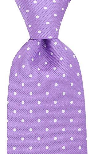 Silk Logo Necktie Ties (Polka Dot Ties for Men - Woven Necktie - Purple w/White)