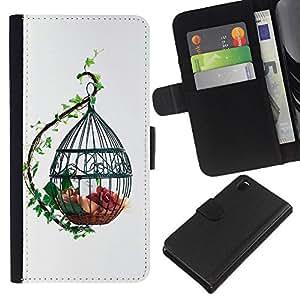 KLONGSHOP // Tirón de la caja Cartera de cuero con ranuras para tarjetas - Diseñar la jaula de pájaros linda - Sony Xperia Z3 D6603 //
