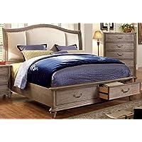 Furniture of America Brahms Platform Bed with Storage, Eastern King, Natural Wood