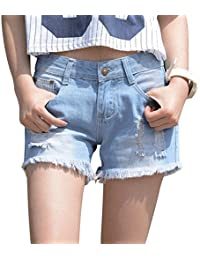 Womens Oversize Jean Shorts Plus Size Ripped Girls Distressed Denim Shorts