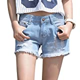 JudyBridal Womens Oversize Jean Shorts Plus Size Ripped Girls Distressed Denim Shorts Blue L
