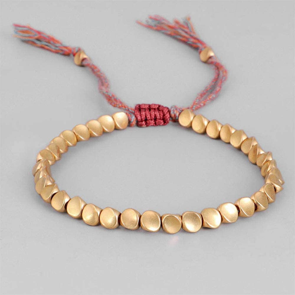 Axlgw Handmade Tibetan Lucky Rope Bracelet With Copper Beads For Women Men Braid Cotton Thread Bracelets Adjustable Size Jewelry Gift