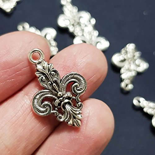NP Supplies 16 Pcs Tibetan Silver Fleur de