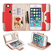 iPhone SE Case, iPhone 5S Case, iPhone 5 Case, FYY Premium PU Leather Wallet Case with Cosmetic Mirror and Bow-knot Strap for Apple iPhone SE/5S/5 Red + Gold