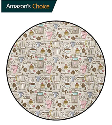 Modern Non-Slip Area Rug Pad Round,Coffee Time Vintage Espresso Machine Cupcakes Beans Cute Design Protect Floors While Securing Rug Making Vacuuming,Diameter-51 Inch Beige Pale Pink And Umber