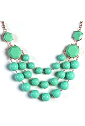 Jane Stone Statement Necklace 3 Layers Bead Chunky Necklace