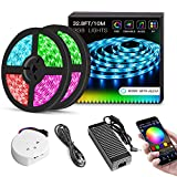 Sanwo WiFi LED Lights Strip Kit, Wireless Remote Controller, 24V Power Adapter, 32.8ft 600LEDS 5050 RGB Waterproof IP65 Strip Light, Support for Android, iOS and Alexa