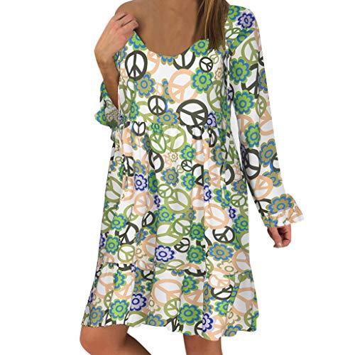 Women's Ladies Plus Size Loose Print Long Sleeve O-Neck Mini Long Dress (Silk Scarves For Sex)