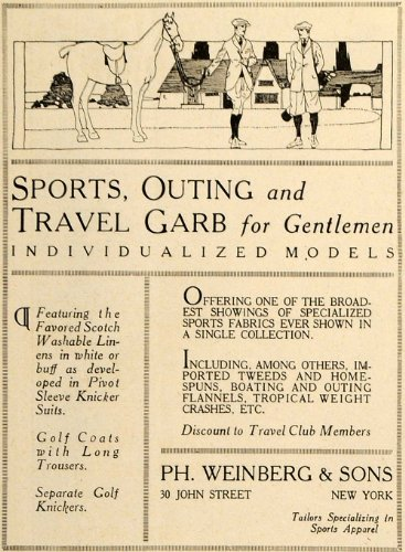 1919 Ad Golf Sports Outing Travel Garb Clothing Tweeds - Original Print Ad (Garb Clothing)