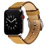 For Apple Watch Band 38mm Mkeke Genuine Leather For iWatch Bands Vintage Brown Light Brown