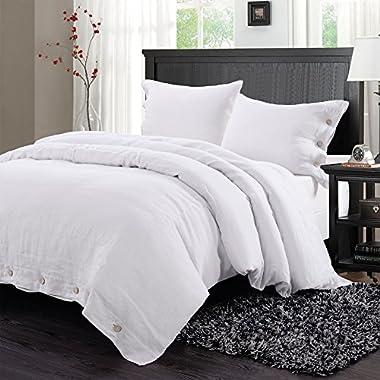 Simple&Opulence Coconut Buttons Bedding Set Linen Duvet Cover Set (King, White)