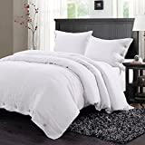 Simple&Opulence 100% Washed Linen Coconut Wood Deduction Solid Grey Bedding Set with 1 Duvet Cover 2 Pillowcases (King, White)