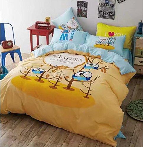 Sandyshow 3PC Owl Bedding For Boys And Girls Full/Queen Microfiber Duvet Cover Set (Full/Queen, Owl)