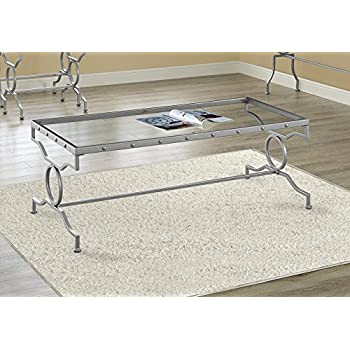 """Monarch Specialties I 3324 Tempered Glass Coffee Table 48"""" L x 22"""" W x 18"""" H Silver"""