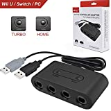 4 Port GameCube Controller Adapter with Turbo and Home Button. Super Smash Bros GameCube Adapter for Wii U, PC, Nintendo Switch. No Driver Need and Easy to Use