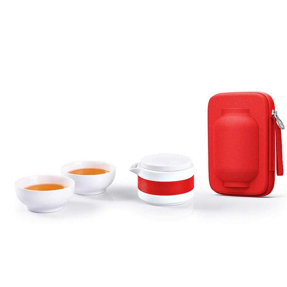 Reuvv Reise-Kung Fu-Tee-Set Tragbares Handgemachtes Chinesisches//Japanisches Vintage-Hochtemperatur-Knochen-Jade-Porzellan-Reise-Tee-Set Tee Beh/äLter Und Beutel