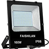 FAISHILAN 100W LED Flood Light Outdoor IP66 Waterproof with US-3 Plug 10000Lm for Garage,Garden,Yard