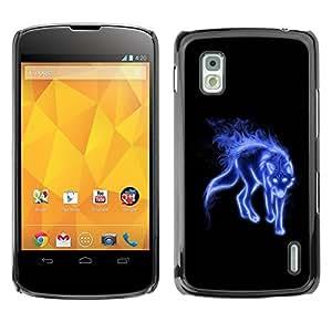 Carcasa Funda Prima Delgada SLIM Casa Case Bandera Cover Shell para LG Google Nexus 4 E960 / Business Style Blue Mystical Wolf