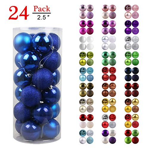 GameXcel Christmas Balls Ornaments for Xmas Tree - Shatterproof Christmas Tree Decorations Large Hanging Ball Blue 2.5