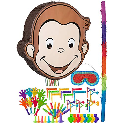 Monkey Pinata - Party City Curious George Pinata Kit for Birthday Party, Includes Bat, Blindfold and 48pc Favor Pack