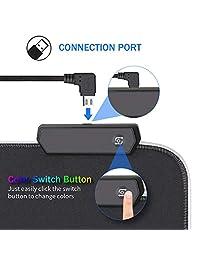 Alfombrilla de ratón RGB para juegos, extra grande, suave LED extendida (10 modos de iluminación), base de goma antideslizante para ordenador, alfombrilla de teclado   31.5 x 11.8 in
