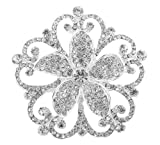 Silver with Clear Iced Out Flower Brooch & Pin