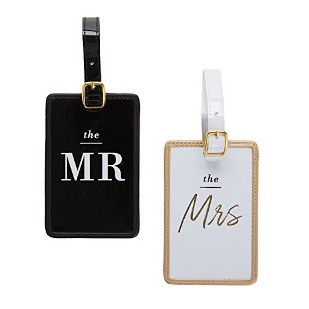 Two's Company Honeymooners Luggage Tag Set in Gift Box: The Mr. and The Mrs.