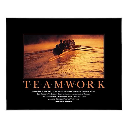Successories Teamwork Rowers Motivational Poster with Black Aluminum Frame in 0.375'', Plexi & No Mats by Successories