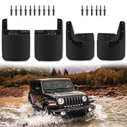 2018 New Body Style Deluxe Splash Guards Fender Flares Mud Flaps for Jeep Wrangler JL JLU Front and Rear by Danti