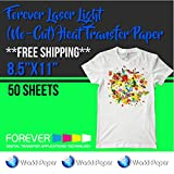 "Forever Laser Light (No-Cut) Heat Transfer Paper 8.5""x11"" 50 sheets"